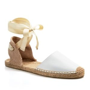 Soludos   White Classic Ankle Wrap Sandals Sz. 9